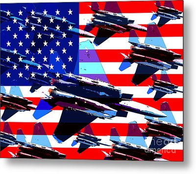 God Bless America Land Of The Free Metal Print by Wingsdomain Art and Photography