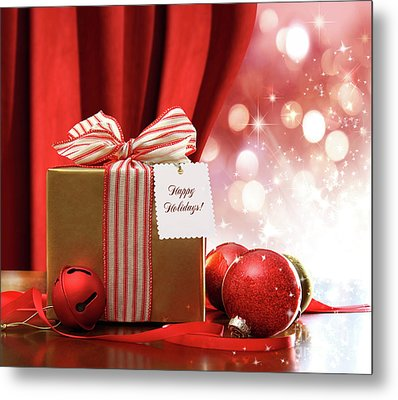 Gold Christmas Gift Box And Ornaments With Sparkle Lights  Metal Print by Sandra Cunningham