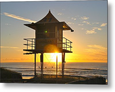 Metal Print featuring the photograph Gold Coast Life Guard Tower by Eric Tressler