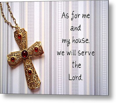 Gold Cross Metal Print by Cynthia Amaral