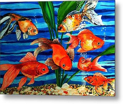 Gold Fishes Metal Print by Johnson Moya