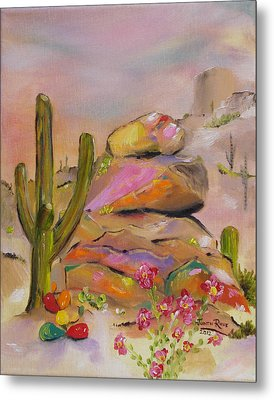 Metal Print featuring the painting Gold-lined Rocks by Judith Rhue