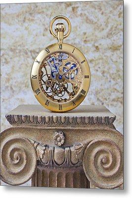 Gold Skeleton Pocket Watch Metal Print by Garry Gay