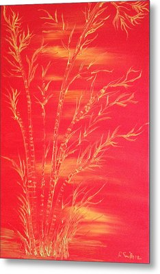 Golden Bamboo 2 Metal Print by Pretchill Smith