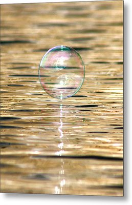 Golden Bubble Metal Print by Cathie Douglas