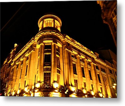 Metal Print featuring the photograph Golden Building At Night by Kirsten Giving