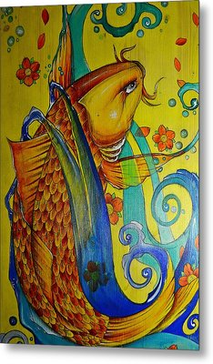Metal Print featuring the painting Golden Koi by Sandro Ramani