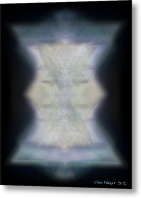 Metal Print featuring the digital art Golden Light Chalices Emerging From Blue Vortex Myst by Christopher Pringer