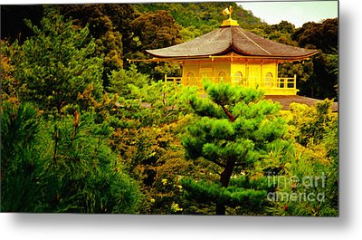 Golden Pavilion Temple In Kyoto Glowing In The Garden Metal Print by Andy Smy
