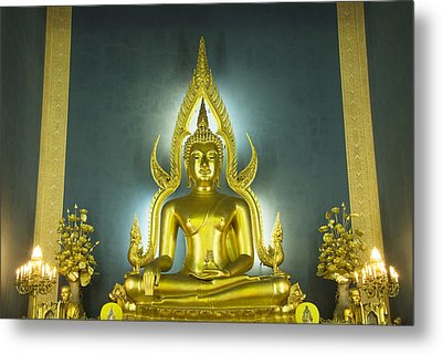Golden Sitting Buddha Metal Print by Gloria and Richard Maschmeyer
