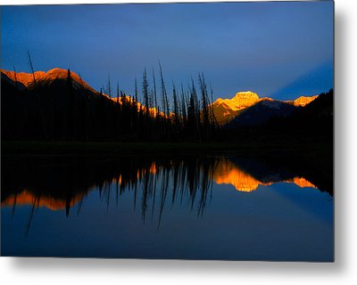 Golden Sunrise With Blue Background On Vermillion Lake Metal Print by Hegde Photos