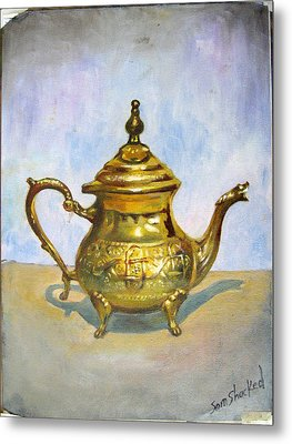 Golden Tea Kettle Metal Print