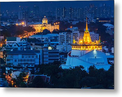 Golden Temple Bangkok Night Metal Print by Arthit Somsakul