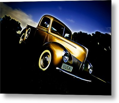Golden V8 Metal Print