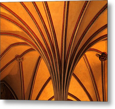 Golden Vaulted Ceiling In Malbork Castle II Metal Print by Greg Matchick