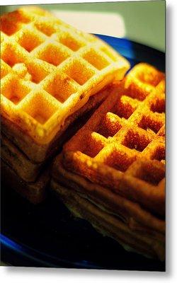 Golden Waffles Metal Print by Rebecca Sherman