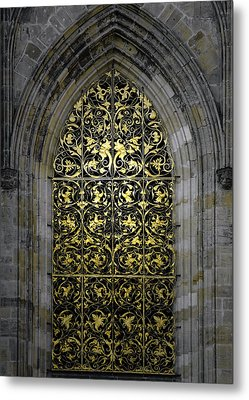 Golden Window - St Vitus Cathedral Prague Metal Print by Christine Till