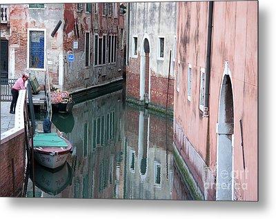 Gondolier Overlooking Rio De S. Anzolo Venice Italy Metal Print by Julia Hiebaum