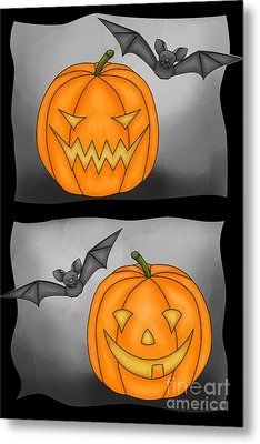Good Pumpkin - Bad Pumpkin Metal Print by Claudia Pflicke