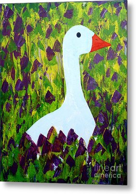 Metal Print featuring the painting Goose by Barbara Moignard