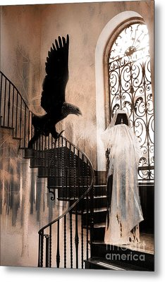 Gothic Surreal Grim Reaper With Large Eagle Metal Print by Kathy Fornal