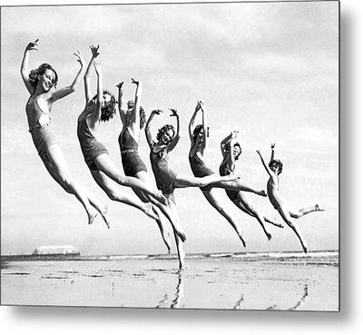 Graceful Line Of Beach Dancers Metal Print