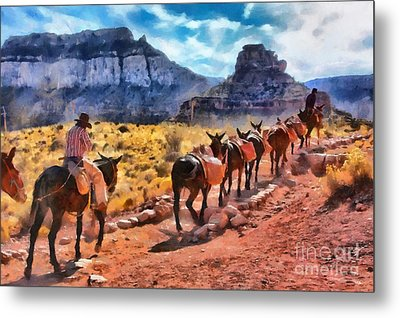 Grand Canyon Mules Heading Up The South Kaibab Trail Metal Print