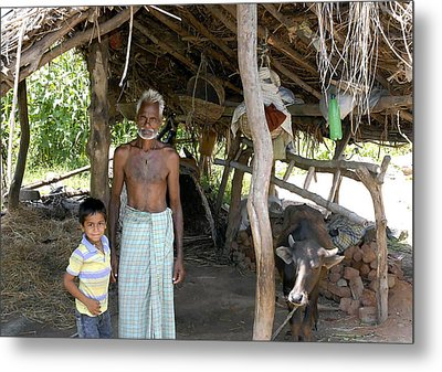 Grand Father With Grand Son Metal Print by Johnson Moya