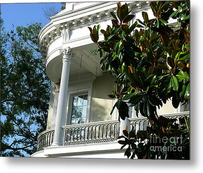 Metal Print featuring the photograph Grand House With Magnolia Tree by Jeanne  Woods
