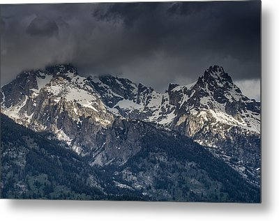 Grand Tetons Immersed In Clouds Metal Print by Greg Nyquist