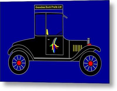 Grandma Duck Fruits Ltd - Virtual Car Metal Print by Asbjorn Lonvig