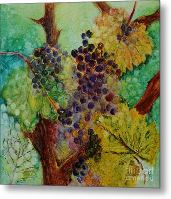 Metal Print featuring the painting Grapes And Leaves V by Karen Fleschler