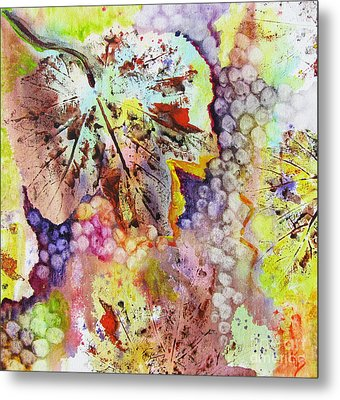 Metal Print featuring the painting Grapes And Leaves Vi by Karen Fleschler