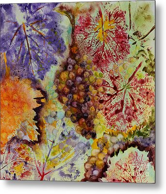 Metal Print featuring the painting Grapes And Leaves Viii by Karen Fleschler
