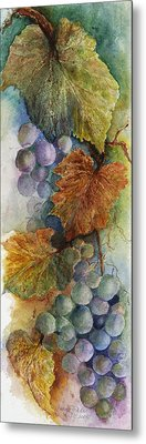 Grapes Iv Metal Print by Judy Dodds