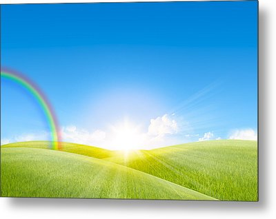 Grassland In The Sunny Day With Rainbow Metal Print by Setsiri Silapasuwanchai