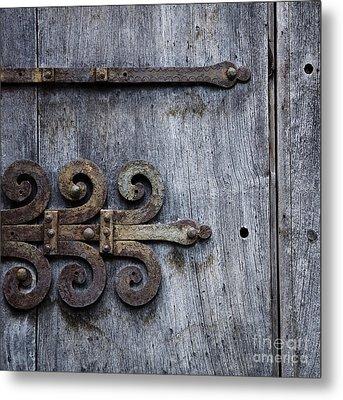 Gray Wooden Doors With Ornamental Hinge Metal Print