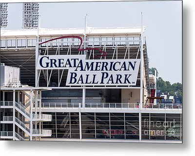 Great American Ball Park Sign In Cincinnati Metal Print by Paul Velgos