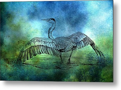 Great Blue Heron Color Wash Metal Print