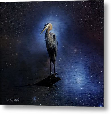 Great Blue Heron On A Starry Night Metal Print by J Larry Walker