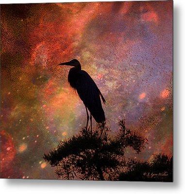 Great Blue Heron Viewing The Cosmos Metal Print