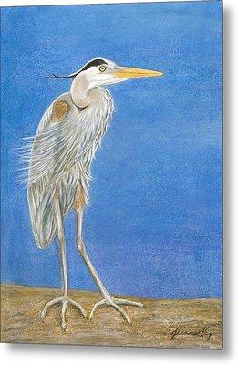 Great Blue Heron Windy Day Metal Print by Jeanne Kay Juhos