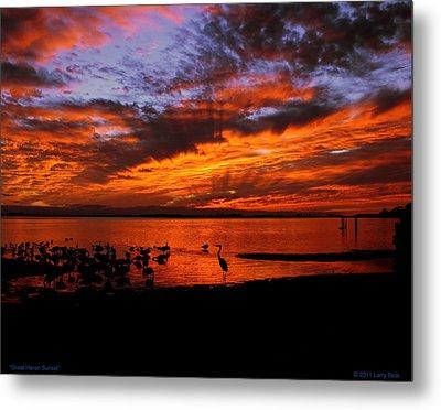 Great Heron Sunset Metal Print