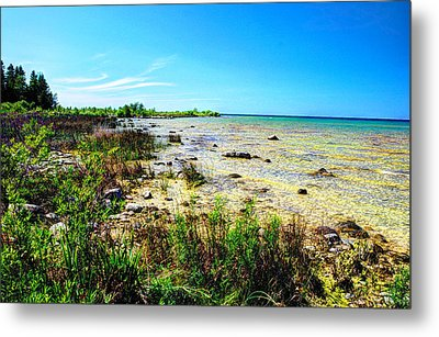 Great Lakes Summer Shoreline Metal Print by Janice Adomeit