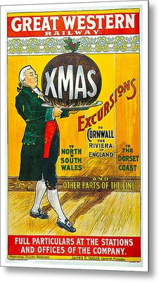 Great Western Railway Xmas Excursions Metal Print by George Conning