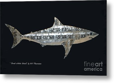 Metal Print featuring the mixed media Great White Shark by Bill Thomson