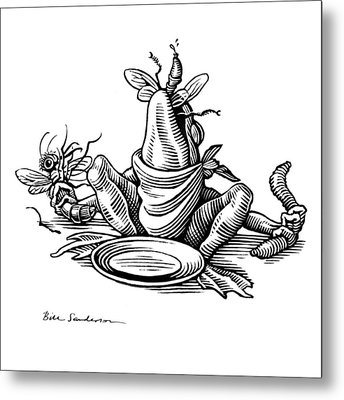 Greedy Frog, Conceptual Artwork Metal Print by Bill Sanderson