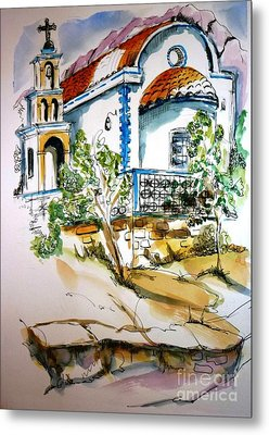 Greek Church Metal Print by Therese Alcorn