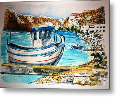 Metal Print featuring the painting Greek Fishing Boat by Therese Alcorn
