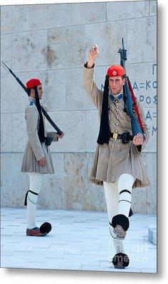 Greek Guards Metal Print by Andrew  Michael